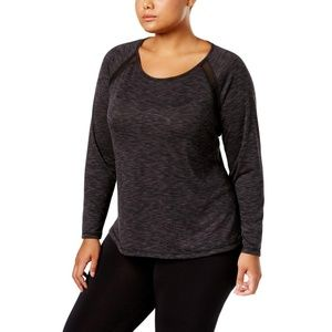 Ideology Long Sleeve Space Dyed Mesh Trim Top 3X